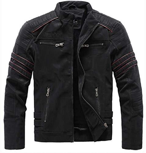 Denzell Outwear Polar Fleece Leather Jacket Anarchist Chamarras De Hombre Plus Size, Chaqueta de Cuero a Prueba de Viento para Hombres para otoño e Invierno