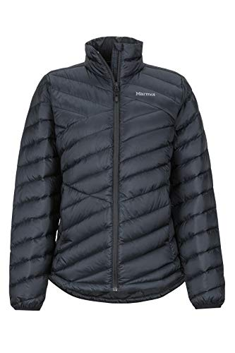 Marmot Wm's Highlander Jacket Chaqueta De Plumas Aislante Ligera, 700 Pulgadas Cúbicas, Chaqueta para Exteriores, Anorak Resistente Al Agua, Resistente Al Viento, Mujer, Black, M