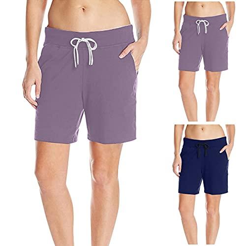 Briskorry Sommerhose Damen Kurz Solid Color Kordelzug Shorts Baggy Freizeithose Kurze Hosen mit Taschen Workout Sommer Lounge Drawstring Shorts für Frauen