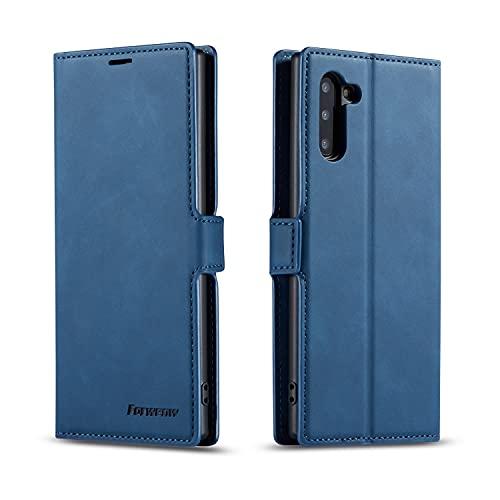 AHUOZ Funda de piel sintética multifunción para Samsung Galaxy Note10, 2 en 1, soporte magnético con función atril, carcasa de TPU con ranura para tarjeta (color azul)