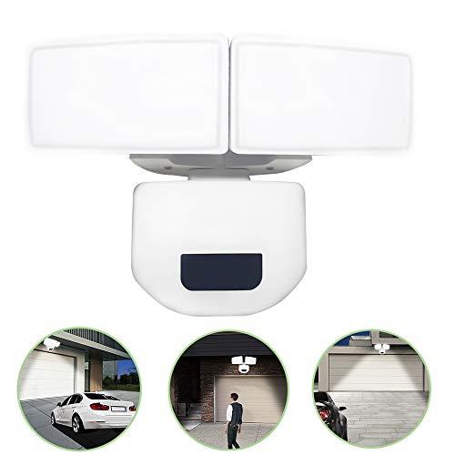 UISEBRT 30W LED-spot met instelbare bewegingsmelder - dubbele kop LED-schijnwerper 180° detectiehoek, IP67 waterdicht, 2200 lumen, LED-veiligheidslicht voor binnenplaats, tuin, plafond en garage