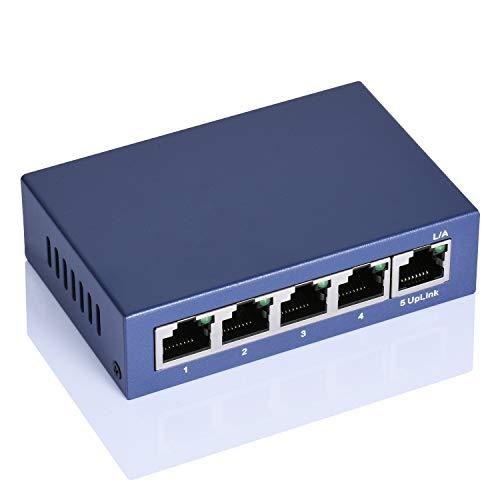 Dericam 5-Port PoE-Switch 10/100 Mbit/s IEEE 802.3af-kompatibel mit 4-Port PoE, Gigabit-Ethernet-Netzwerk-Switch, Plug-and-Play zur Optimierung des Datenverkehrs