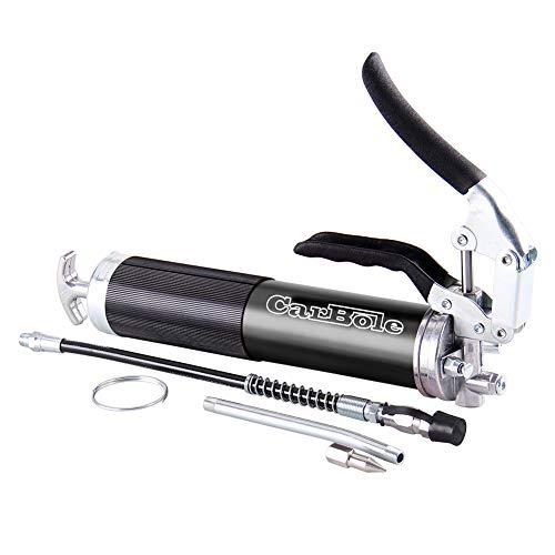 6000 PSI Hochleistungs-Pistolengriff-Fettpresse, 3-Wege-Beladung Standard-14oz-KartuschenAnodisierter Aluminium-Kanister mit 12-Zoll-Flex-Schlauch und 6-Zoll-Starrverlängerung (Schwarz)