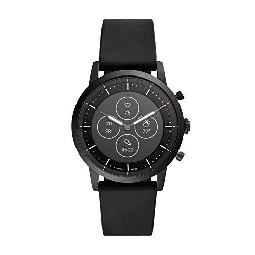 Fossil Men's Collider HR Heart Rate Stainless Steel and Silicone Hybrid Smartwatch, Color: Black (FTW7010)