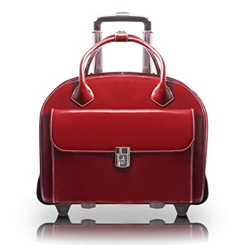 McKlein, W Series, Glen Ellyn, Top Grain Cowhide Leather, 15' Leather Patented Detachable -Wheeled Ladies' Laptop Briefcase, Red (94366)