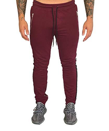 Deadstock Trackpants met strepen op de broekspijpen, lange joggingbroek voor mannen/heren, slimfit