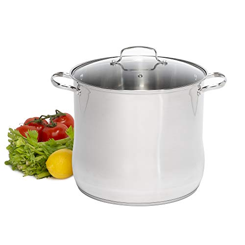 Laroma Stainless Steel Stock Pot/Stockpot with Tempered Glass Steam Vented Lid