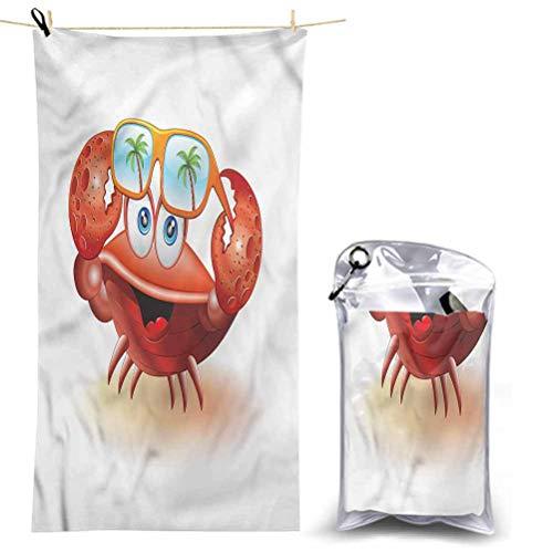 Ahuimin toallas de baño, cangrejos, gafas de sol de máscara cómic, 63 x 81 pulgadas, súper absorbentes, de secado rápido, toallas ecológicas suaves para el baño corporal, viajes