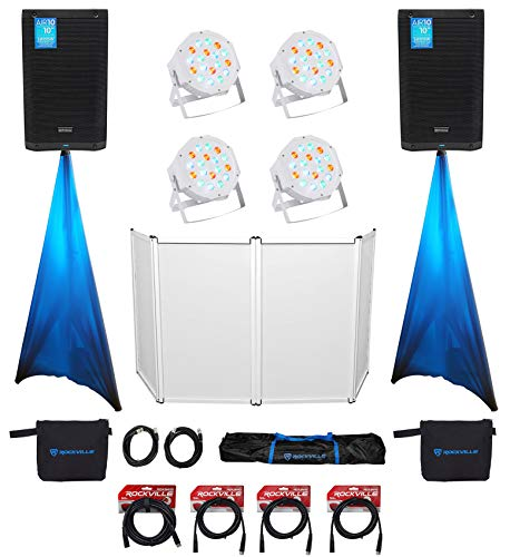 Read About DJ Package (2) Air10 10 Powered Speakers and Stands+Scrims+Facade+Par Lights+Cables