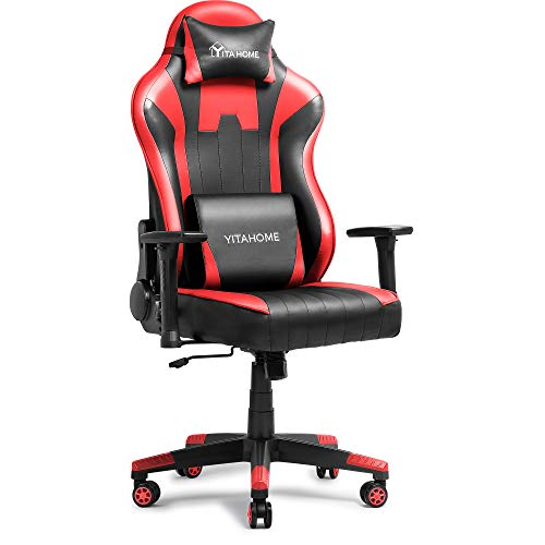 YITAHOME Massage Gaming Chair Big and Tall 350lbs Heavy Duty Ergonomic Video Game Chair High Back Office Computer Chair Racing Style with Headrest and Lumbar Support,Red