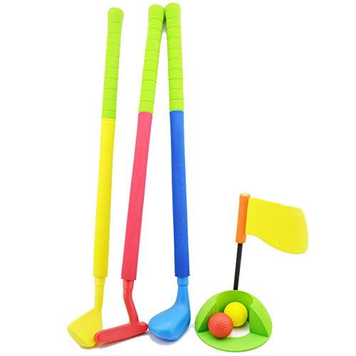 LFYPSM Golf Soft Bubble Anzug Für Kinder Indoor/Outdoor Eltern-Kind-Sportspielzeug Einfach Zu Spielende Golfschlägersets 3 Schläger 2 Bälle 1 Loch Und Golfflagge