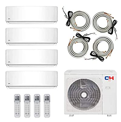 COOPER AND HUNTER Multi Zone Quad 4 Zone 9000 9000 12000 12000 Ductless Mini Split Air Conditioner Heat Pump Full Set WiFi Ready