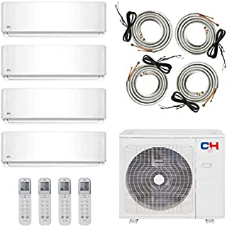 COOPER AND HUNTER Multi Zone Quad 4 Zone 12000 12000 12000 12000 Ductless Mini Split Air Conditioner Heat Pump Full Set WiFi Ready
