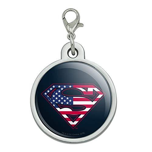 GRAPHICS & MORE Superman USA American Flag Shield Logo Chrome Plated Metal Pet Dog Cat ID Tag