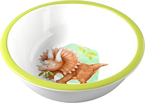 HABA 305146 - Schüssel Dinos, Kinderschüssel aus Melamin mit Dino-Motiv, für die Spülmaschine, verrutscht nicht