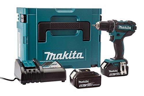 Makita DDF482RMJ Akku-Bohrschrauber 2x18V 4Ah Li-ion + Koffer Makpac, 18 V, blau, silber