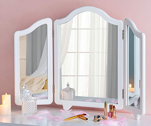 LUXFURNI Hollywood Large Vanity Trifold Makeup Mirror, 3 Side Folding Tabletop Mirror White