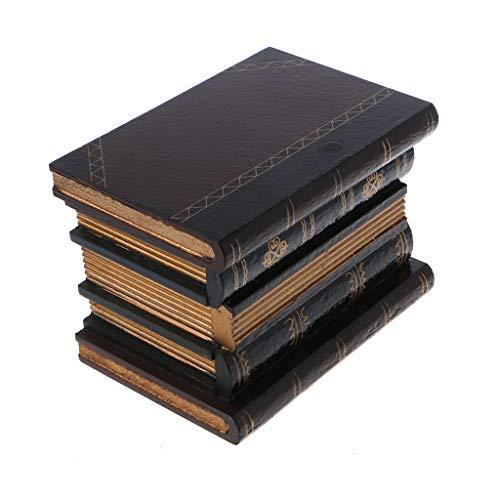 zrshygs Caja de Libro Falso Libro de Madera Vintage Almacenamiento de Joyas Libro de Estudio Caja de Adornos