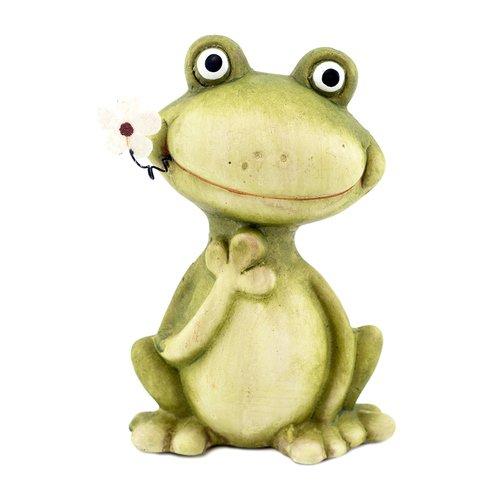 Deko Frosch mit Blume, Frosch Dekofigur, Gartenfigur, Froschfigur, Garten/Balkon Dekoration
