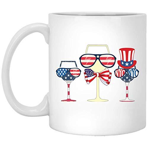 N\A opas de Vino patriócticas Taza de café Bandera Estadounidense 4 de Julio Regalo Mejor Taza Taza Blanca 190704