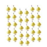 Milisten 30Pcs Mini Colgantes de Setas de Colores Lindos Adornos de Cuentas en Miniatura Fabricación de Artesanías de Bricolaje (Amarillo)