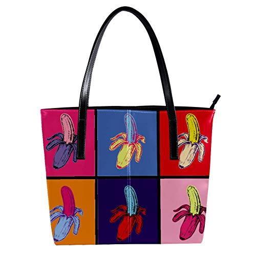 TIZORAX Pop Art Banana Damen-Handtasche aus PU-Leder mit Tragegriff, Schultertasche