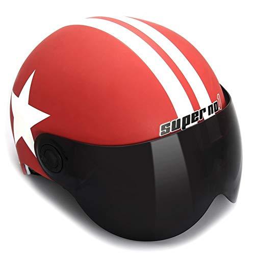 ZWL Moto Équitation Casque Locomotive Crème Solaire Protection Demi Casque Convenable Tour de tête 56-61cm,Red