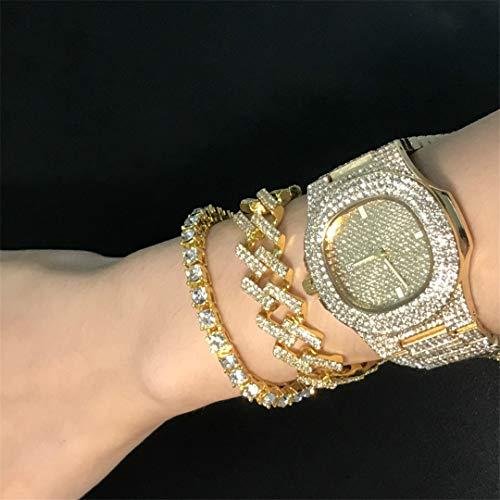 MTRESBRALTS Herren-Armbanduhr, Hip Hop-Armbänder, EIS-Kristall, Miami-Kette, goldfarben, silberfarben, kombiniert, Set verstellbar, Damen, Light Yellow Color