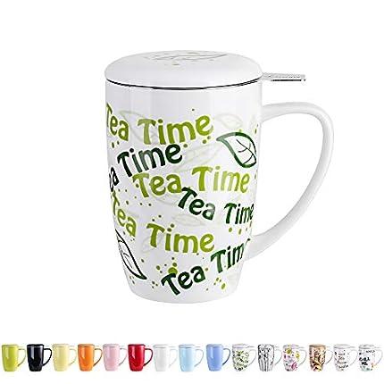 LOVECASA Taza de Te Porcelana, Mug Infusión con Filtro y Tapa, Diseño con Frases Tea Time Regalo 450 ML