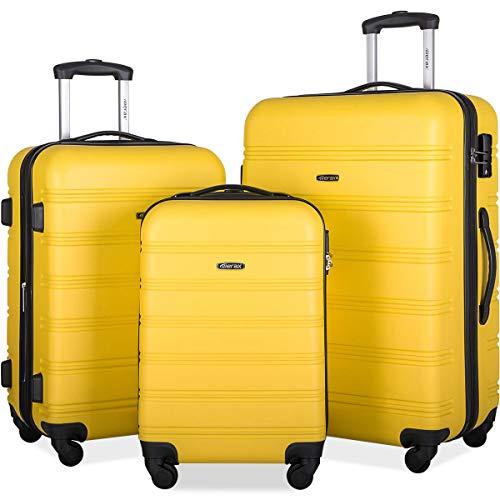 Merax Expandable Luggage Set with TSA Locks, 3 Piece Spinner Suitcase Set (yellow)