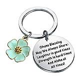 FUSTMW Ohana Keychain Blessing Gifts Hibiscus Charm Keychain Hawaiian Ohana Jewelry Gift for Family (Silver)