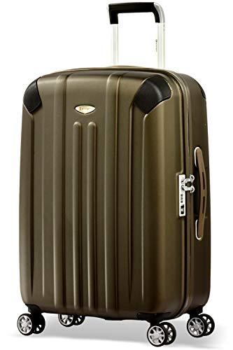 Eminent Valigia Boulder 66cm 71L Valigia media ultra leggera 4 Ruote doppie silenziose Protezione addizionale dei bordi & Lucchetto TSA Marrone