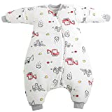 XMWEALTHY Toddler Sleep Bags with Feet Soft Winter Baby Wearable Blanket with Legs Thicken Sleeping Suit Girl Boy Excavator for 29.5'-33.5' Height