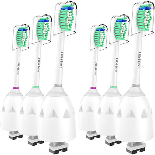 Jibitee Replacement Brush Heads Compatible with Philips Sonicare E-Series HX7022/66, fit Screw-On Electric Toothbrush Handles, 6 Pack