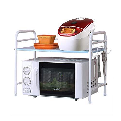 Plat de cuisine imprimé sur un support de cuisine d'étudiant dortoir étagère sur la table, supports de four à micro-ondes, 30kg porteur parfait cadeau (Color : WHITE, Size : 61CM*33CM*33CM)