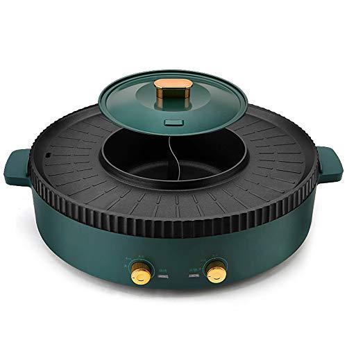 Multifunkition Bbq Hot Barbacoa Eléctrica Barbacoa Pot Fondue One Piece Shabu Pot, Control De Temperatura Separado, Parrilla Antiadherente Para Hornear