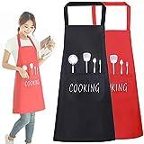 Sprießen 2pcs Unisex Chefs Delantal de Cocina Impermeable con Bolsillos Delantales para Cocinar Restaurante Trabajar Bar BBQ Jardinería Artesanía Hornear (Negro + Rojo)