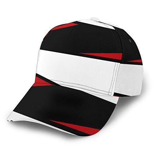 Baseballkappe, schwarz, weiß, rot, gestreift, verstellbar, klassisch, sportlich, lässig, für Herren und Damen
