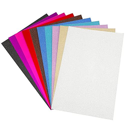 AIEX 10 Blatt Glitzer-Papier bunt Glitzer-Bastelpapier Gemischte Farben Glitzer-Kartonpapier Glanzpapier für Bastelarbeiten Hochzeit Geburtstagsdekoration Festkarten Größe A4, 10 Farben