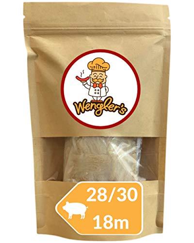 Estuche de Tripas de Cerdo 28/30 Wengler Equiparable a Las de carnicería - Resistente a la cocción - Apto para ahumar y Barbacoa (18m (28/30))