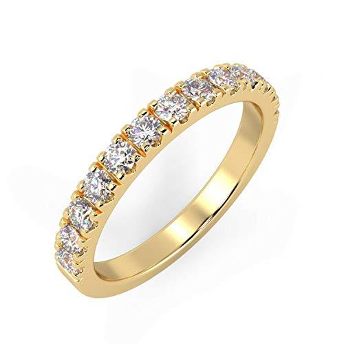 Anello Half Eternity in oro giallo 18 ct, certificato 100% naturale, con micro pavé di diamanti rotondi da 0,50 carati e Oro giallo, 47 (15.0), colore: bianco, cod. HDR0483.1