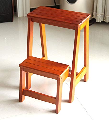 WCJ eenvoudige Home Folding massief hout twee etages trapladder huishouden plank ladder schoen kruk, 3 kleuren (kleur: 3#, grootte: 38,5 * 48 * 55 cm)