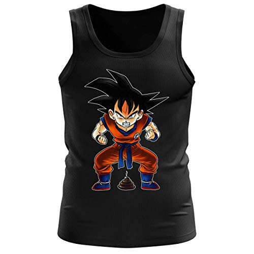 Okiwoki Débardeur Homme Noir Parodie Dragon Ball Z - DBZ - Sangoku - Super Caca - Vol.1 (Débardeur de qualité Premium de Taille XL - imprimé en France)