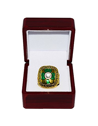 BOSTON CELTICS (Larry Bird) 1984 NBA FINALS WORLD CHAMPIONS (Pride & Teamwork) Vintage Rare & Collectible High-Quality Replica NBA Basketball Gold Championship Ring with Cherrywood Display Box