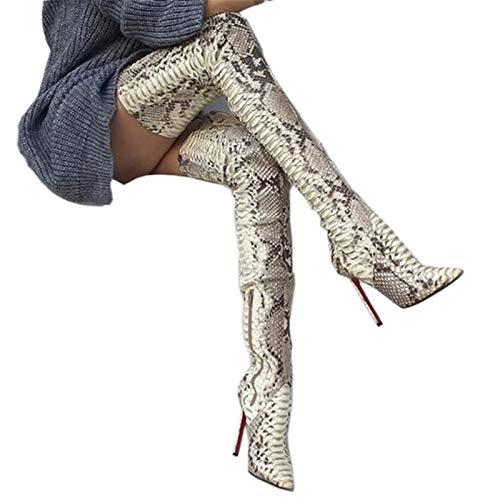 Botas De Tacón De Aguja Sexis con Punta Puntiaguda sobre La Rodilla para Mujer, Botas Altas hasta El Muslo con Estampado De Piel De Serpiente para Mujer-Snake Skin||35