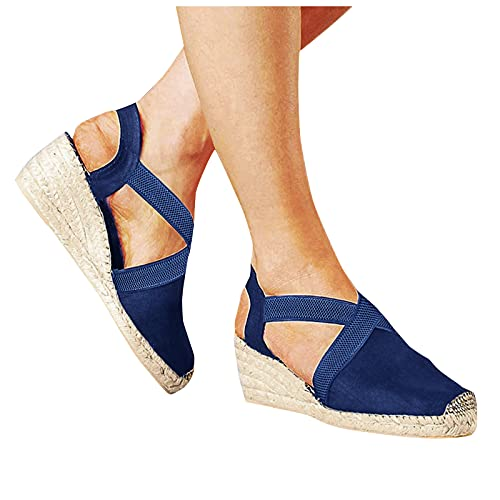 Aniywn Womens Closed Cap Toe Espadrilles Wedge Shoes Platform Heel Elastic Ankle Strap Dress Sandals Comfy Slip On Sandals Blue