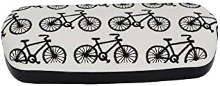 Black PU Embroidered Bicycles Glasses Hard Case 16x4x6.5cm