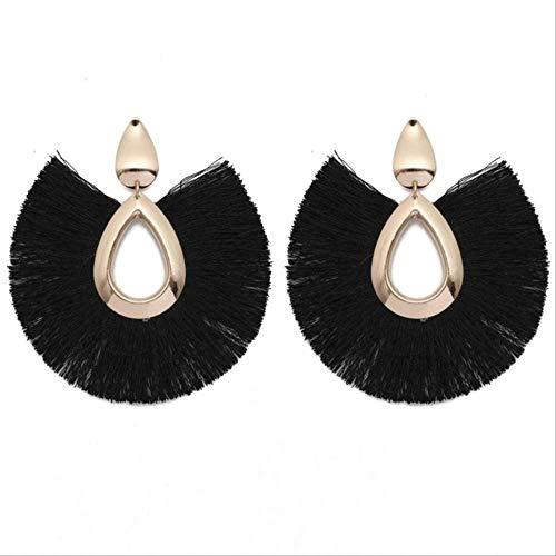 Para mujerPendientes colgantes de borla hechos a mano de algodónPara mujerPendientes largos con flecos grandes bohemios Vintage2127 Negro