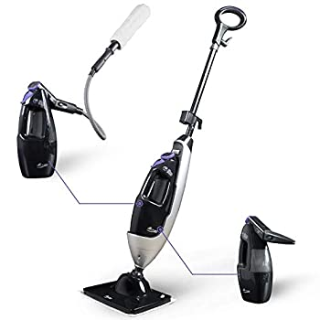 LIGHT  N  EASY Steam Mop Cleaners 5-in-1 with Detachable Handheld Unit Multi-Purpose Floor Steamer for Hardwood/Grout/Tile/Laminate Handheld Cleaner for Kitchen/Sofa/Window,Black 7688ANB