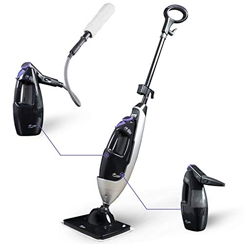LIGHT 'N' EASY Steam Mop Multifunctional Steam Cleaners with Detachable Handheld Unit Multi-Purpose Floor Steamers Cleaner for Hardwood,Grout,Tile,Laminate, Black(7688ANB)